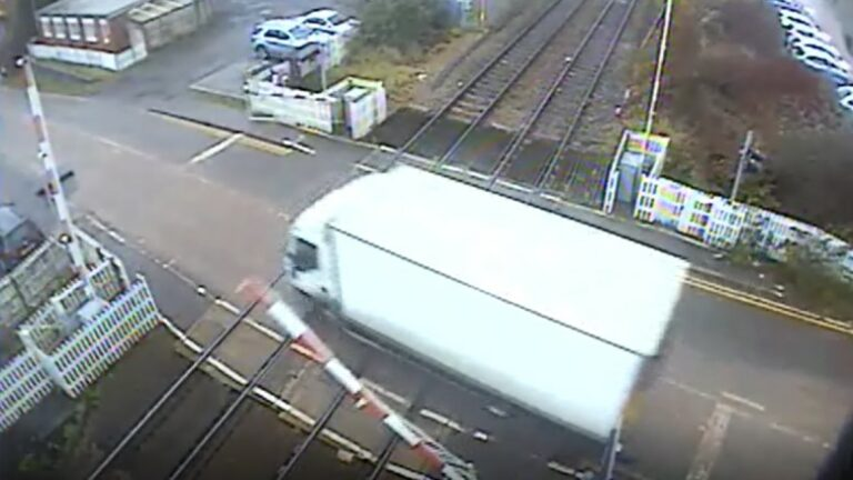 Lorry smashes through level crossing barriers at Hartlebury, Worcestershire