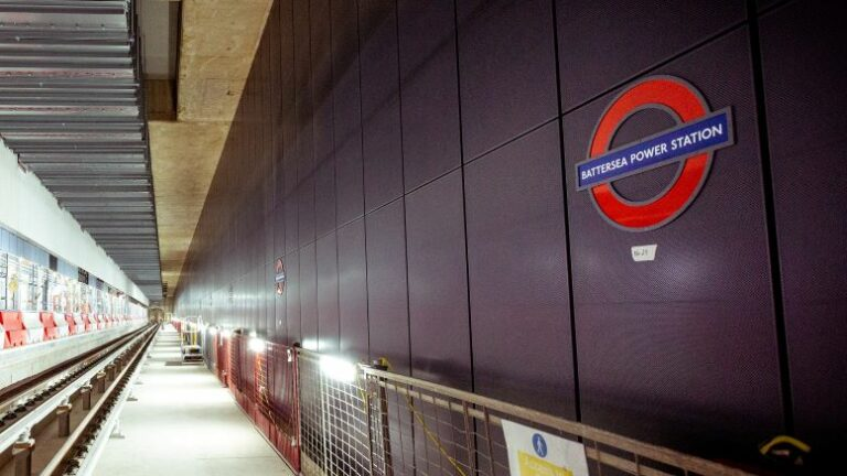 First iconic London Underground roundel signs fitted to new Northern Line extension stations