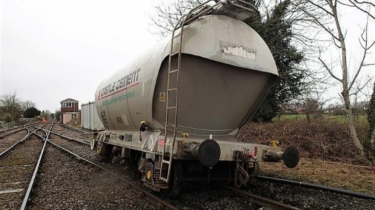 Runaway cement wagon derailed before it reaches the main line
