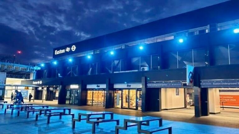 Major stations illuminated in blue to honour NHS