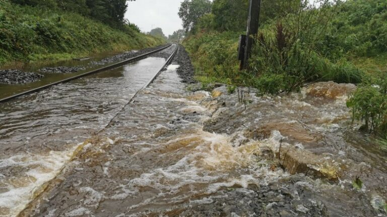Antrim line closed by  flooding after storm