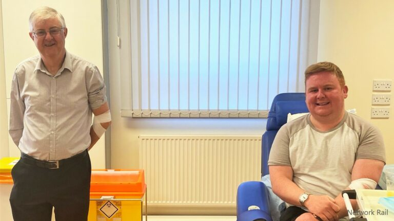 Rail worker donates blood as rules change