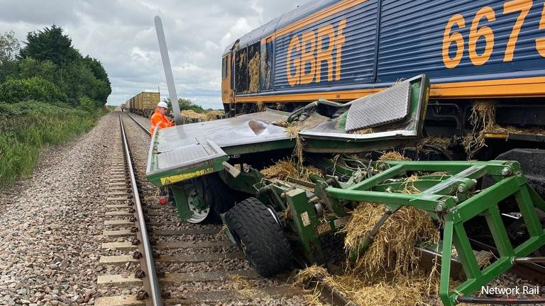 Train hits tractor in East Anglia